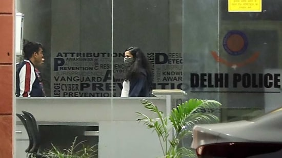 Nikita Jacob is seen inside Cyber Prevention Awareness and Detection (CyPAD) centre at Dwarka in New Delhi on Monday. (ANI Photo)
