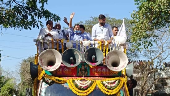 Aam Aadmi Party leader and Delhi CM Arvind Kejriwal held a roadshow in Surat on Friday, (ANI)