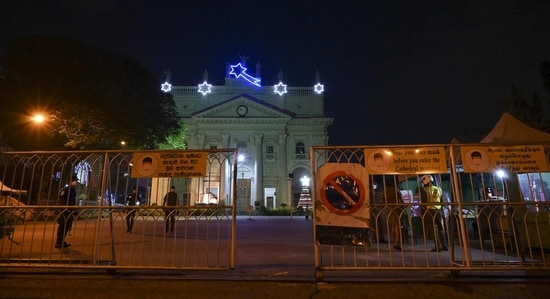 Barricades are seen outside the Saint Lucia's Cathedral, the main Roman Catholic church in Sri Lanka's capital of Colombo. (AFP)
