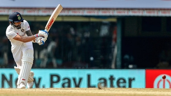 Indian Captain Virat Kohli plays a shot during the 3rd day of second cricket test match between India and England, at M.A. Chidambaram Stadium.(PTI)