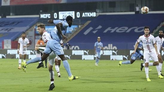 Mourtada Fall of Mumbai City FC scores a goal during the Indian Super League match between Mumbai City FC and ATK Mohun Bagan, at the GMC Stadium, Bambolim.(PTI)