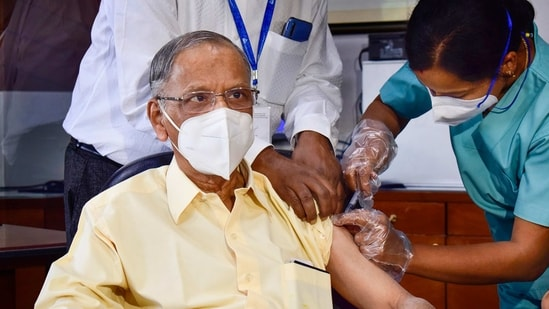 Infosys co-founder Narayan Murthy receives his first dose of COVID vaccine during the second phase of the countrywide inoculation drive, in Bengaluru,(PTI)