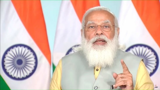 Prime Minister Narendra Modi addresses the inauguration of Maritime India Summit 2021, through video conferencing in New Delhi on Tuesday. (PTI PHOTO).