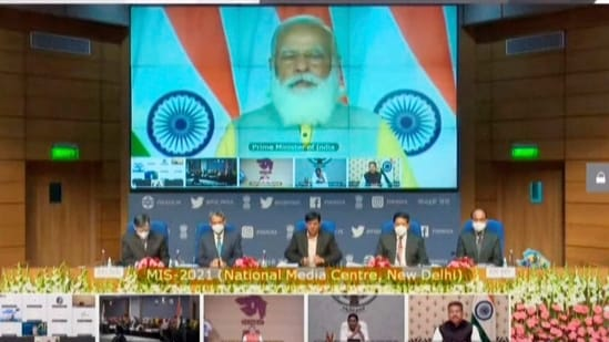 """Inviting world to invest in Indian maritime sector, PM Modi said, """"India's long coastline awaits you. India's hardworking people await you. Invest in our ports. Invest in our people. Let India be your preferred trade destination. Let Indian ports be your port of call for trade and commerce.""""(PTI)"""