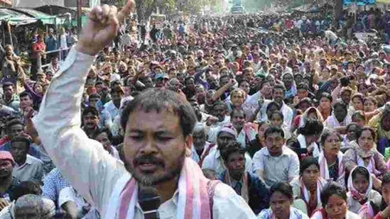 Akhil Gogoi was arrested at Jorhat on December 12, 2019 for his role in the protests against Citizenship Amendment Act.(Photo @kmss_assam)