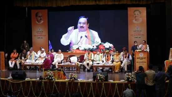 BJP chief JP Nadda addresses party leaders, workers in Jaipur on Tuesday, March 2. (Photo: BJP media cell)