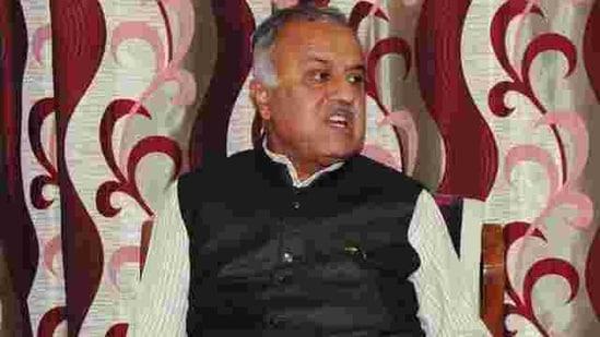 BJP MP Nand Kumar Singh Chauhan passed away on Tuesday(Mujeeb Faruqui/HT photo)