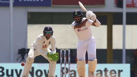 Cheteshwar Pujara in action against England. (BCCI)