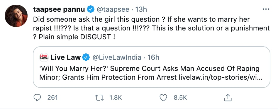 Taapsees tweet on the SC decision,