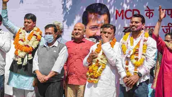 In the by-elections to the Municipal Corporation of Delhi, the Aam Aadmi Party won four of the five seats. It also won the Shalimar Bagh North constituency which was earlier held by the BJP. (PTI PHOTO).
