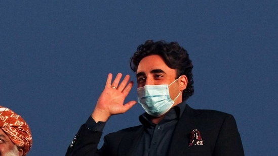 In this file photo. Bilawal Bhutto Zardari, chairman of the Pakistan Peoples Party (PPP), waves to the supporters during an anti-government protest rally organized by the Pakistan Democratic Movement (PDM), an alliance of political opposition parties, in Lahore, Pakistan. (REUTERS)