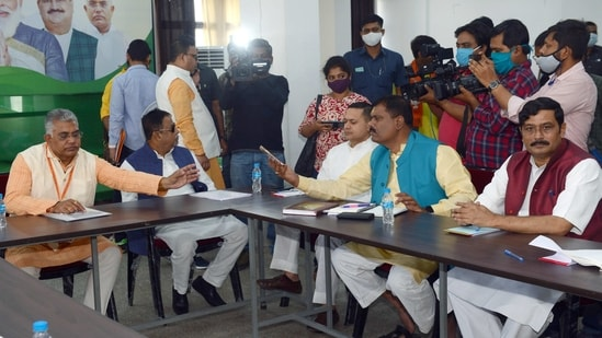 State BJP Election Committee holds a meeting ahead of West Bengal Assembly Election; party leader Kailash Vijayavargiya, Dilip Ghosh, and others are present, in Kolkata on Wednesday. (ANI Photo)