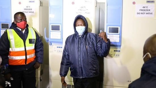 South Africa's Deputy President David Mabuza gestures during a visit to Biovac, a Covid-19 vaccine storage facility, in Midrand, South Africa.(AFP)