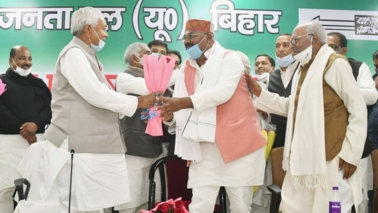 Bihar chief minister Nitish Kumar and JD(U) national president RCP Singh at a party meeting in Patna earlier this year. (PTI PHOTO)