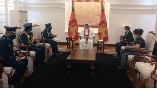 Indian Air Force chief Air Chief Marshal RKS Bhadauria met Sri Lankan Prime Minister Mahinda Rajapaksa, the Defence Secretary and the Commander of the Sri Lankan Air Force in Colombo on Wednesday. (ANI PHOTO).