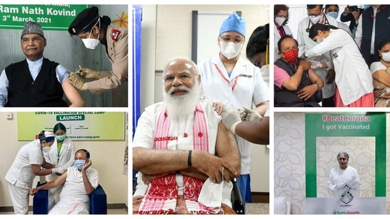 PM Modi, President Kovind, Vice President Naidu, Union minister Harsh Vardhan and eminent Sarod player Ustad Amjad Ali Khan received their first does of Covid-19 vaccine. (HT Photos/Twitter/BeFunkyCollage)
