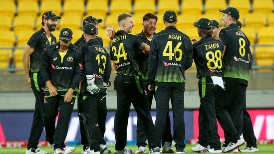 Australian cricketers celebrate(ICC/Twitter)