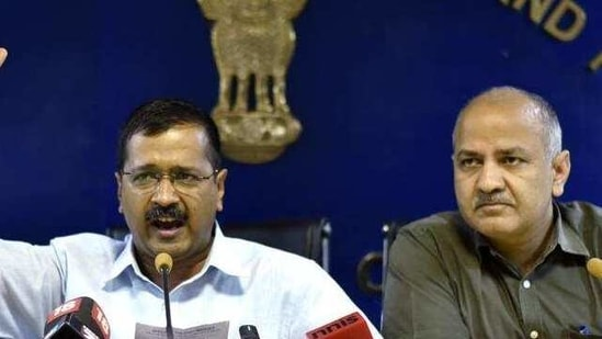 Delhi chief minister, Arvind Kejriwal with his deputy, Manish Sisodia. Kejriwal and his Aam Aadmi Party have accused the Centre of interfering with Delhi government functioning.(Raj K Raj/HT File Photo)