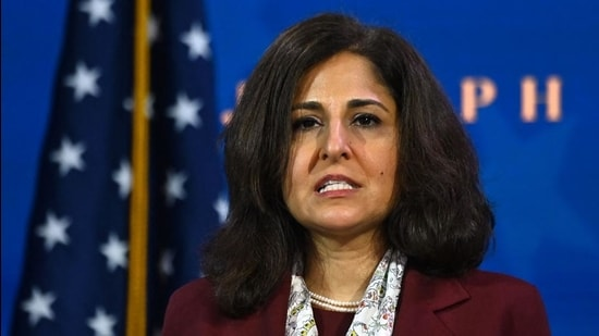 A file photo of Neera Tanden at The Queen Theatre in Wilmington, Delaware. (AFP)