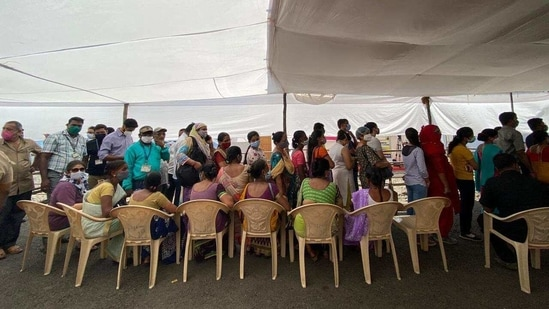 Senior citizens at BKC in Mumbai waiting for vaccine registration on Tuesday. Photo by Pratik Chorge