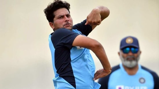 Kuldeep Yadav bowls under the supervision of bowling coach Bharat Arun. (Getty Images)