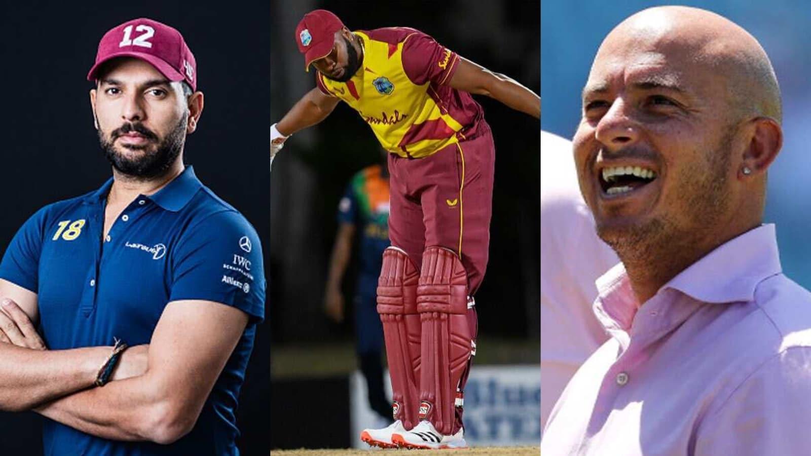 Yuvraj Singh, Herschelle Gibbs react after Kieron Pollard joins them in hitting six sixes in an over - Hindustan Times