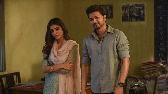 Malavika Mohanan and Vijay on sets of Master.