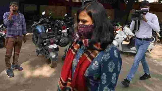Aparna Purohit, Amazon's head of original content for its Prime streaming service in India, arrives for questioning at a police station in Lucknow.(Reuters File Photo)