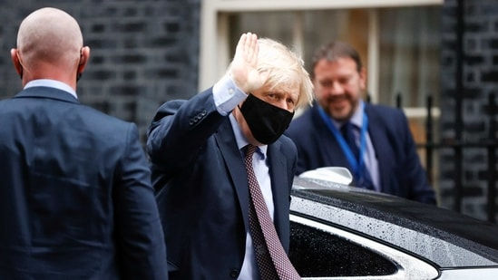 Britain's Prime Minister Boris Johnson arrives at Downing Street in London, Britain March 3, 2021.(REUTERS)