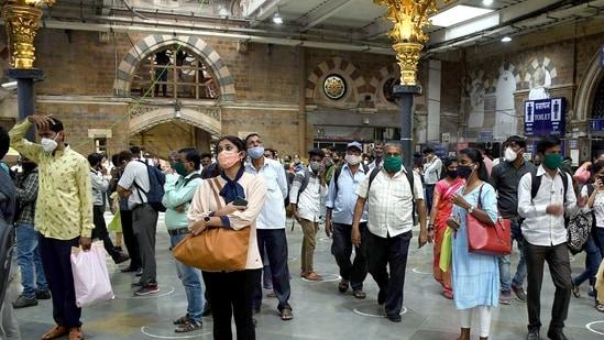 Commuters standing maintaining social distancing norms at Chhatrapati Shivaji Maharaj Terminus, in Mumbai (ANI).
