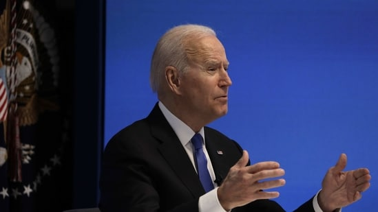 U.S. President Joe Biden speaks during a virtual meeting with the House Democratic Caucus in the Eisenhower Executive Office Building in Washington, D.C., U.S., on Wednesday, March 3, 2021. Biden has agreed to moderate Democrats' demands to narrow eligibility for stimulus checks, but rejected a push to trim extra unemployment benefits, as he tries to win support for his $1.9 trillion pandemic-relief bill, according to a Democratic aide. Photographer: Yuri Gripas/Abaca/Bloomberg(Bloomberg)