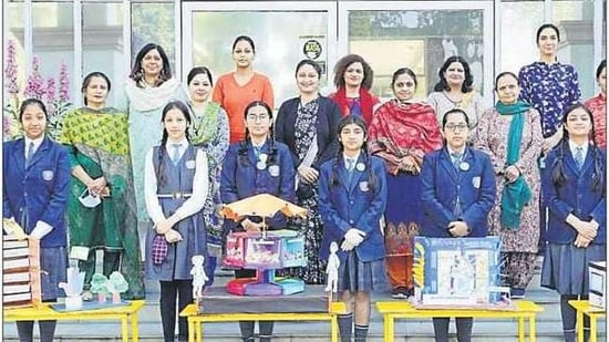 Students and staff of St Joseph's Senior Secondary School, Chandigarh, with their creations.