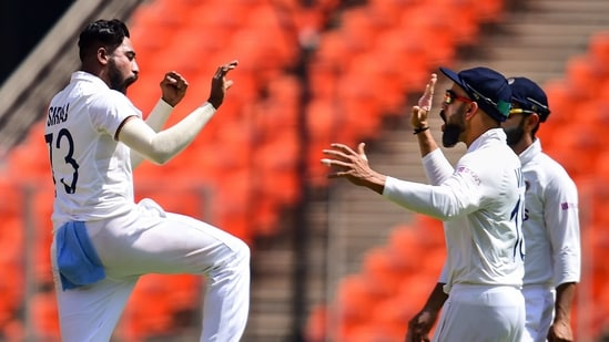 Ahmedabad: Indian bowler M Siraj celebrates with teammates the wicket of England batsman Joe Root, during the first day's play of the 4th and last test match of the series between India and England, at Narendra Modi Stadium in Ahmedabad, Thursday, March 4, 2021. (PTI)