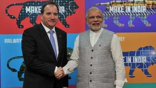 This will be the fifth interaction between the two leaders since 2015. In picture - Narendra Modi with Swedish Prime Minister Stefan Löfven at the Make in India centre, in Mumbai.(PIB)
