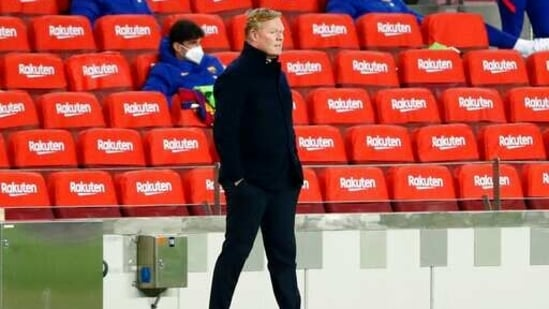 Barcelona's head coach Ronald Koeman (AP)