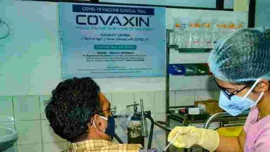A person being administered a shot of Covaxin during last year's clinical trials (PTI)