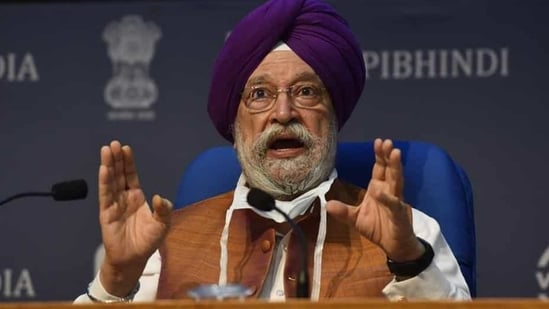 Urban housing minister Hardeep Puri release ease of living index on Thursday. (Sanjeev Verma/HT File Photo)