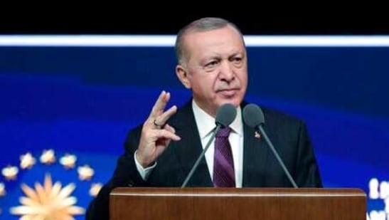 Turkish President Recep Tayyip Erdogan speaks about Human Rights reforms prepared by his government, in Ankara, Turkey, Tuesday, March 2, 2021. Erdogan announced a series of reforms aimed at improving human rights in the country on Tuesday, but critics questioned their effectiveness in improving standards.(Turkish Presidency via AP, Pool )(AP)