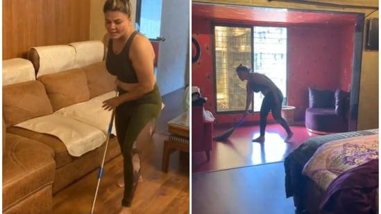 Rakhi Sawant shard a video of herself doing household chores.