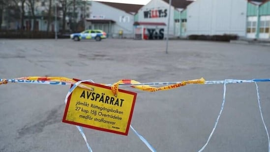 Police barricade tape cordons off a knife attack site in Vetlanda, Sweden March 3, 2021.(REUTERS)