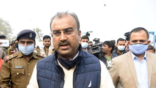 Bihar health minister Mangal Pandey speaks to the press in this file photo. (Santosh Kumar/ Hindustan Times)