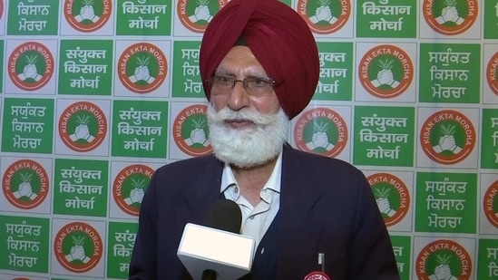 """The SKM's legal panel also denounced the alleged repressive measures and violation of human rights by the Centre and the Delhi Police to foil the """"peaceful"""" agitation of farmers. In picture - Prem Singh Bhangu.(ANI)"""