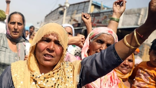 Thousands of farmers from states such as Punjab, Haryana, and Uttar Pradesh are camped at Delhi's borders since November 27 to protest against the three farm laws, which were passed in the Parliament in September.(ANI)