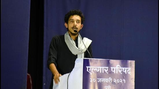Sharjeel Usmani at Elgar Parishad in Pune on Saturday (January 30). (HT FILE)