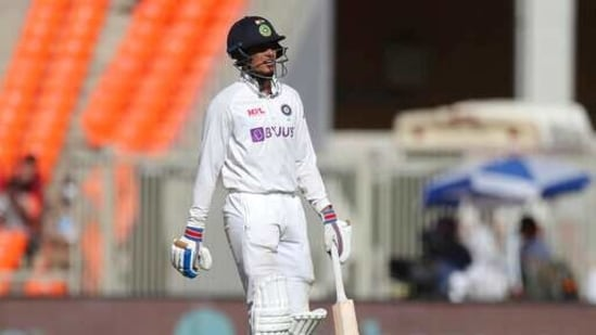 India's Shubman Gill walks off the field after losing his wicket.(AP)