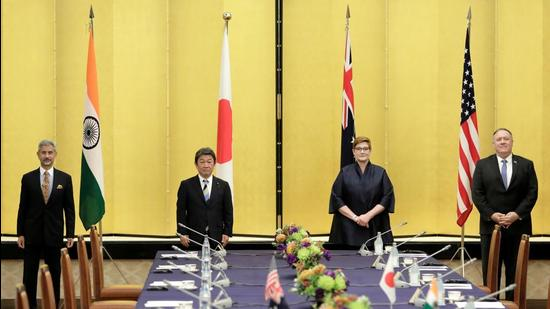 Indian Foreign Minister Subrahmanyam Jaishankar, Japan's Foreign Minister Toshimitsu Motegi, Australia's Foreign Minister Marise Payne and then-US Secretary of State Mike Pompeo, since succeeded by Antony Blinken, pose for a picture before the Quad ministerial meeting in Tokyo, Japan on October 6, 2020. (REUTERS File)