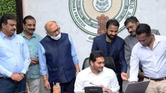 CM Jagan Reddy launching the website. (Photo@AndhraPradeshCM)