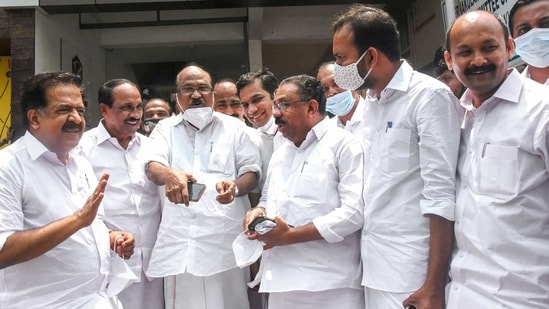 Ramesh Chennithala denied allegations that the Congress party has weakened in Kerala. In picture - Chennithala (extreme left) arrives for a meeting with the party leaders.(PTI)