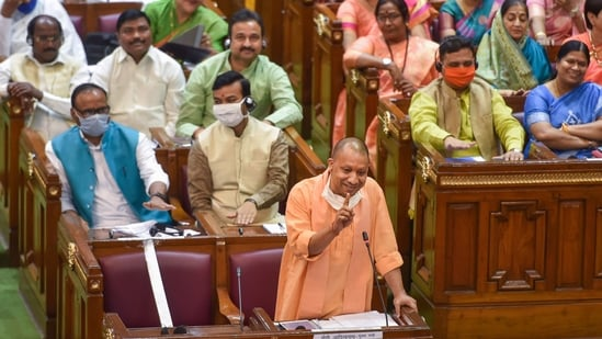 Lucknow: Uttar Pradesh Chief Minister Yogi Adityanath speaks during the Budget Session of UP Assembly, in Lucknow. Representative Photo(PTI )