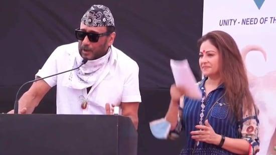 Jackie Shroff with Ayesha Jhulka at the event.